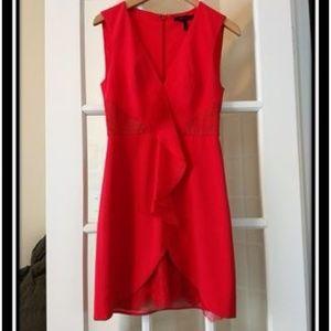 BCBG Koralyn Lace Blocked Ruffle Dress